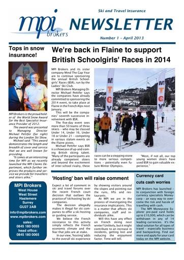 MPI Newsletter 01 - April 2013