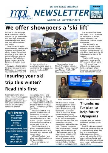 MPI Newsletter 12 - November 2016