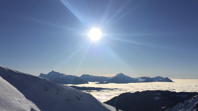 Morzine view with sun